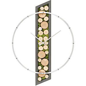 AMS Design Nástěnné hodiny s dřevem a přírodním mechem 9607
