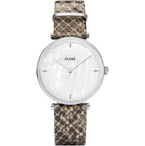 Cluse Triomphe Silver White Pearl/Soft Grey Python CL61009